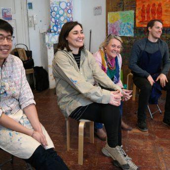 Team Personalentwicklung der JKU im Teambuilding Workshop im Atelier Vogerlfrei